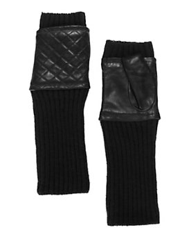 Carolina Amato Quilted Leather/Knit Fingerless Gloves