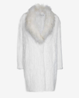 Elizabeth and James Holland Rabbit Fur Long Coat