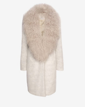 Elizabeth and James Iris Mongolian Fur Collar Coat
