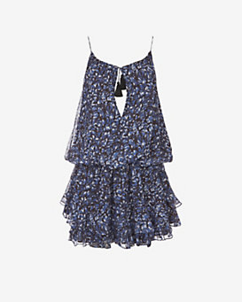 Elizabeth and James Gathered Tassel Tie Print Dress