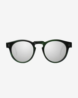 Illesteva Leonard Eco Iridescent Frame Mirrored Lenses Sunglasses: Green
