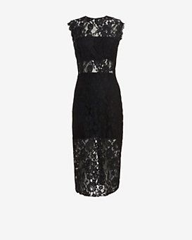 Alexis Lace Pencil Dress: Black