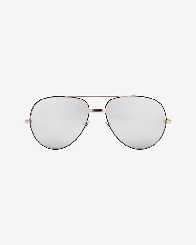 Linda Farrow White Gold Mirrored Lense Sunglasses