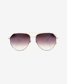 Linda Farrow Gold Wire Aviator Grey Lenses Sunglasses