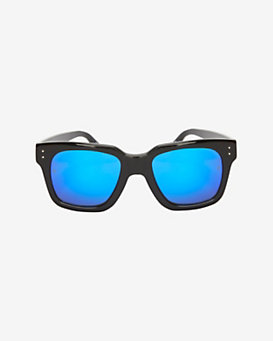 Linda Farrow Mirrored Lense Wayfarer Sunglasses: Black/Blue