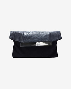 Hunting Season Horn Detail Python Flap Clutch: Black