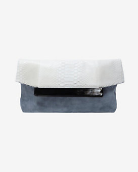 Hunting Season Horn Detail Python Flap Clutch: White