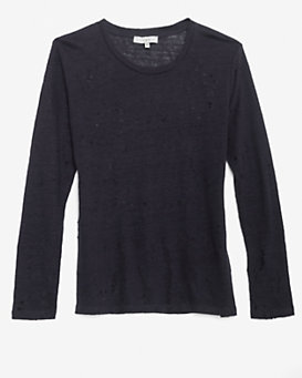 IRO EXCLUSIVE Long Sleeve Tee With Holes: Navy