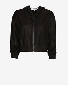 Elizabeth and James Cropped Hooded Leather Jacket