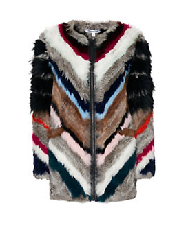Elizabeth and James Tarra Multi Color Fur Zip Jacket