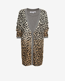 Elizabeth and James Leopard Print Boyfriend Cardi