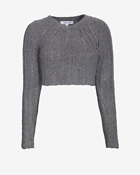 Elizabeth and James Super Cropped Textured Sweater
