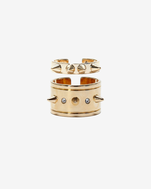Maria Francesca Pepe Crystal Spike Ring Set
