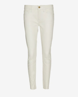 FRAME Le Skinny Leather Pant: White