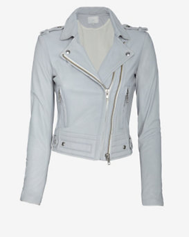 IRO Luiga Double Zip Moto Jacket: Grey