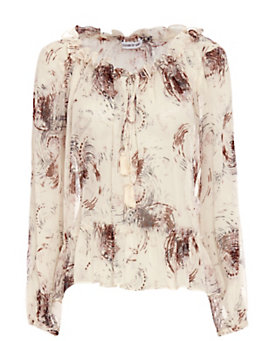 Elizabeth and James Duma Tassel Tie Print Blouse