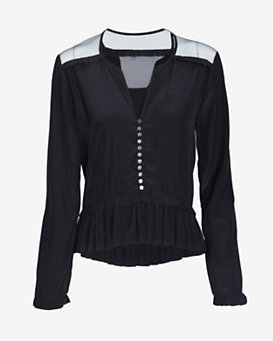 Elizabeth and James Marian Ruffle Blouse: Black