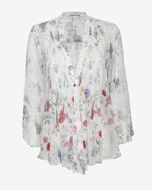 Elizabeth and James Kimono Pleated Print Blouse