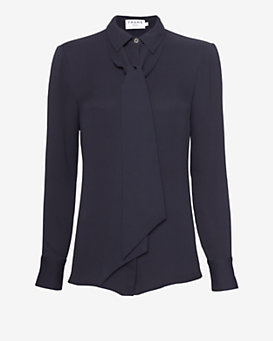 FRAME Neck Tie Collared Blouse: Navy