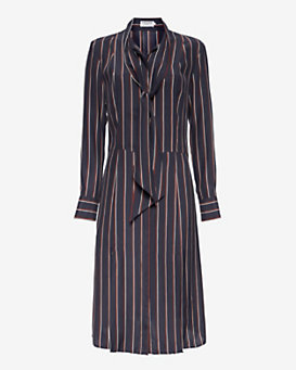 FRAME Neckline Tie Striped Dress