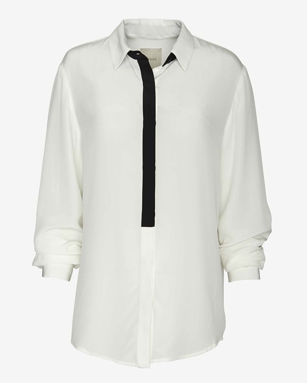 mason by michelle mason Contrast Placket Trim Blouse