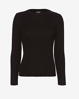 Anthony Vaccarello Grommet Shoulder Cable Knit Sweater