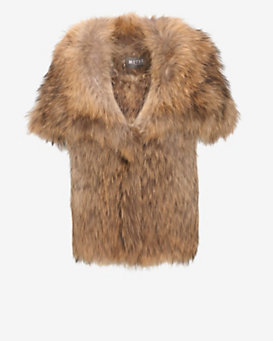 Yves Salomon Hooded Raccoon Fur Vest