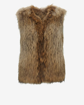 Yves Salomon Collarless Raccoon Fur Vest