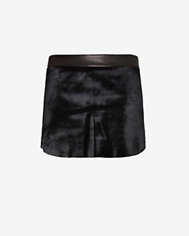 mason by michelle mason Calf Hair Front Leather Mini Skirt