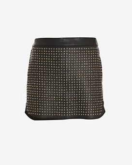 mason by michelle mason Studded Front Leather Mini Skirt