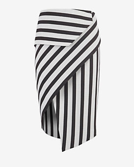mason by michelle mason Asymmetric Wrap Stripe Skirt