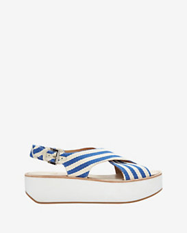 Flamingos Malabar Fabric Stripe Flat Sandal
