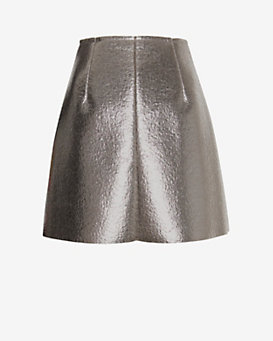 MSGM Silver Lame Skirt