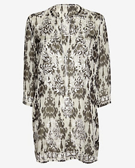 Marie France Van Damme Embellished Sheer Silk Zatic Kurta