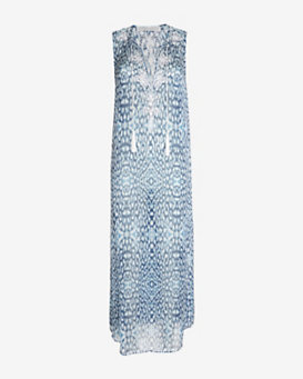 Marie France Van Damme Sleeveless Long Kurta: Blue