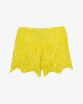 Miguelina Jaya Scallop Lace Shorts: Yellow