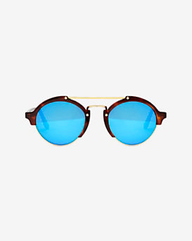 Illesteva Milan II Mirrored Lenses Havana Sunglasses