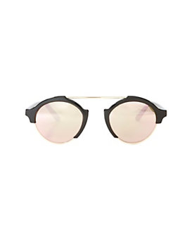 Illesteva Milan IV Shiny Black Rosegold Mirrored Sunglasses