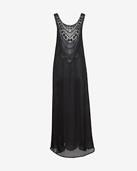 Miguelina Embroidered Gauzy Maxi Caftan: Black