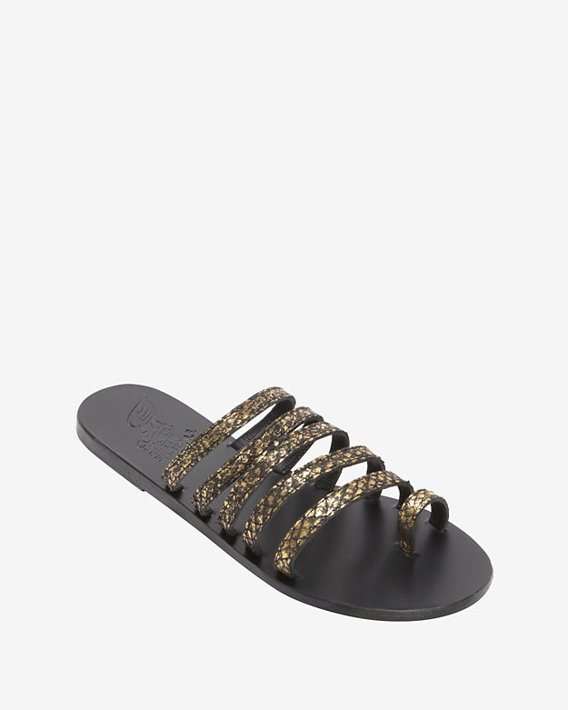 Ancient Greek Sandals Strappy Metallic Flat Sandal