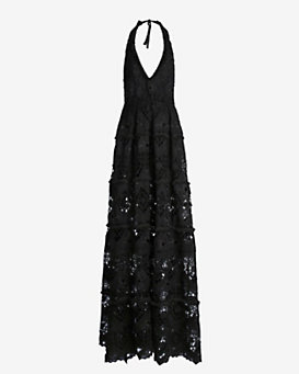 Alexis Embroidered Halter Neck Gown