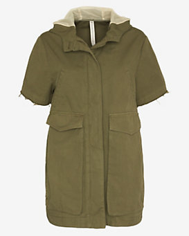 Novemb3r Maggie Hooded Short Sleeve Army Jacket