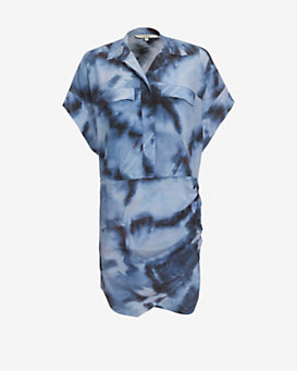 IRO Two Pocket Silk Print Shirt Dress