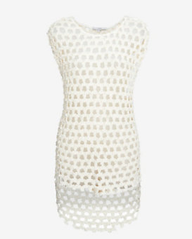 IRO Cap Sleeve Open Weave Knit Top