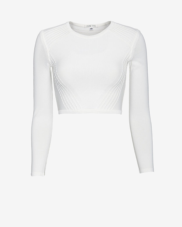 Ohne Titel Jersey Knit Crop Top: White