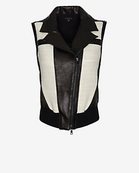 Ohne Titel Colorblock Wool/Leather Vest