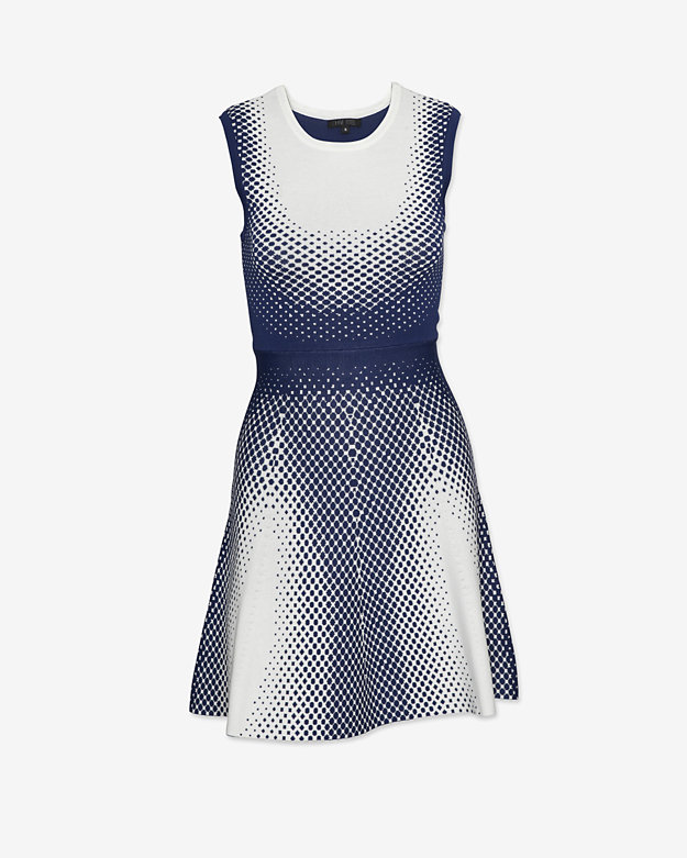 Ohne Titel Dot Print Jacquard Flare Dress: White/Navy
