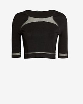 Ohne Titel EXCLUSIVE Sheer Panel Crop Top: Black