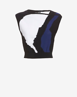 Ohne Titel Sleeveless Intarsia Crop Knit