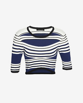 Ohne Titel Striped Curved Hem Jersey Knit Crop Top